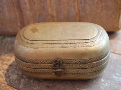 Antique Engraved Brass Box from Uttar Pradesh